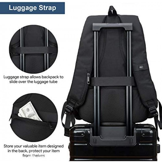 Travel Laptop Backpack Waterproof Business Work School College Bag Daypack with USB Charging&Headphone Port for Men Women Boy Girl Student Durable Luggage Backpacks Fit 15.6/17Inch(Black)