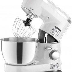 Black+Decker 1000W 6 Speed Stand Mixer with Stainless Steel Bowl, White/Silver - SM1000-B5, 2 Year Warranty