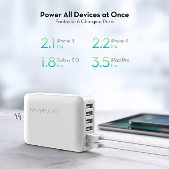 USB Charger RAVPower 60W 12A 6-Port Desktop USB Charging Station with iSmart Multiple Port, Compatible iPhone SE 11 Pro Max XS XR X iPad Pro Air Mini Galaxy S10 Note 10 Tablet and More (Black Blue)